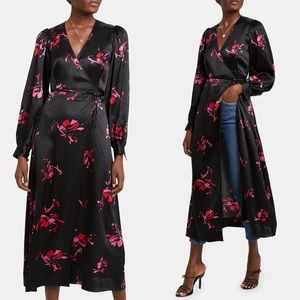 GANNI Women's Black Floral Print Satin Wrap Dress
